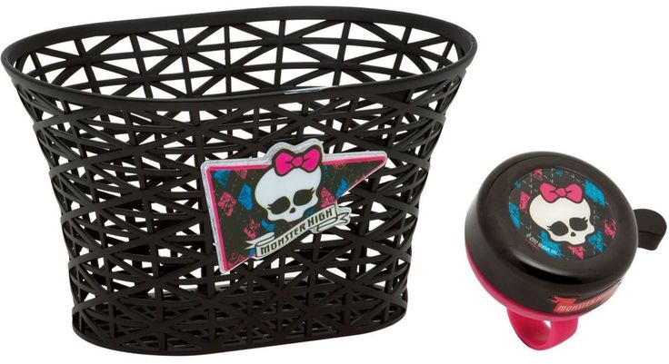 New Monster High Girls Bike Basket & Bell Set Accessories Bicycle Kids Scooters