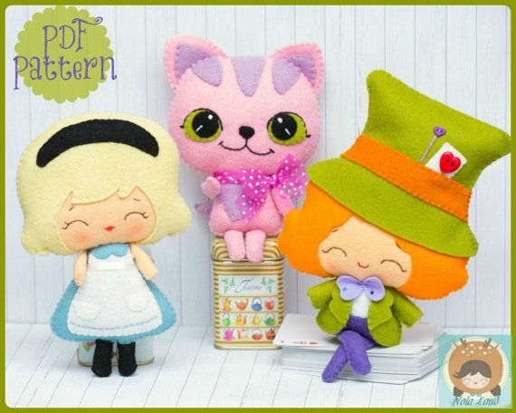 Wonderland Pattern: Alice, Mad Hatter and Cheshire cat. PDF Pattern via Etsy
