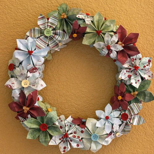 Paper flower wreath. These flowers are cut, folded & shaped by hand. No punches or die cuts used!