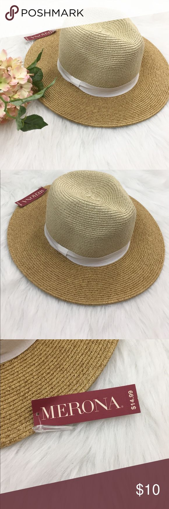 """NWT Merona Woven Rancher Hat in Tan New with tags. Rancher woven straw sun hat. Feels thick and durable. Last pic isn't exact hat, but is the same size and style. Top part is slightly lighter tan than brim. White ribbon bow accent. Brim is 3 1/4"""" wide. Merona Accessories Hats"""
