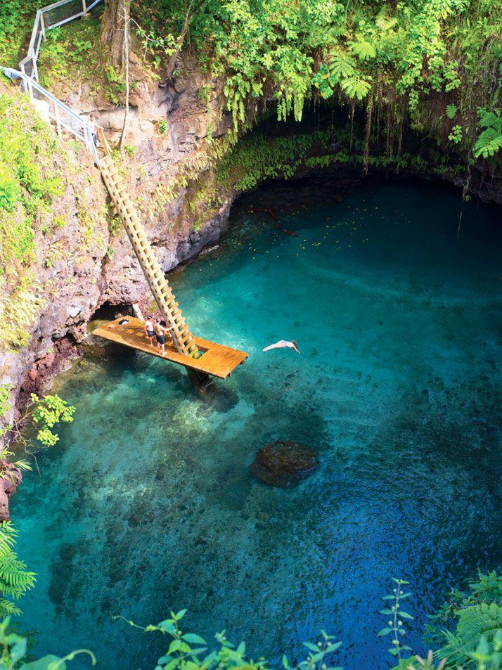 The Sua Ocean Trench in Lotofaga, Upolu island in Samoa. photo © Unknown.