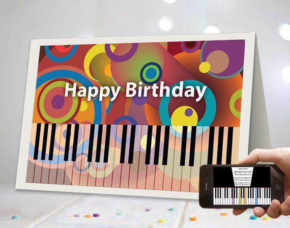 Virtual Piano Keyboard Happy Birthday Card Unique Ar Happy Etsy Music Greeting Cards Happy Birthday Music Happy Birthday Cards