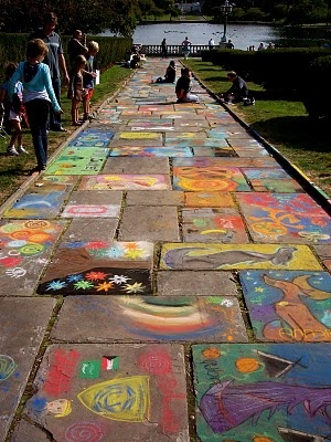 Sidewalk CHALK festival. The Cleveland Museum of Art. my kids on the left with their creations.  I've been attending for 20 years!!