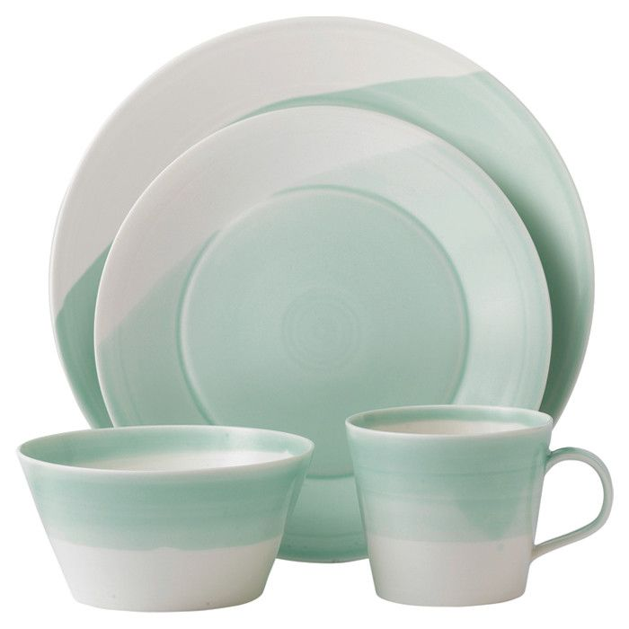 Sixteen-piece dinnerware set with green accenting. Product 4 Dinner plates 4 Salad plates 4 Bowls 4 Mugs  sc 1 st  Pinterest & 85 best Dinnerware Sets images on Pinterest   Dinnerware sets Dish ...
