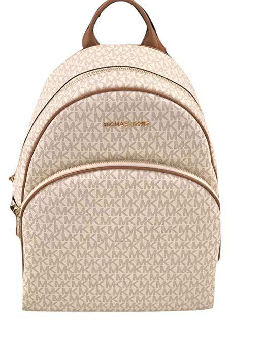 40171a4813c2 MICHAEL Michael Kors Abbey Jet Set Large Leather Backpack (Vanilla 2018)  $157