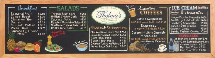 Thelma's Deli Chalkboard Menu at the Galt House Hotel in ...