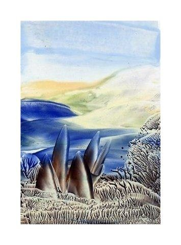 Rocks Encaustic art wax fantasy landscape painting.