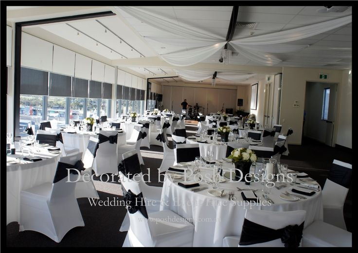 Black satin sashes, white lycra chair covers, white table cloths, black and white roof draping, hanging crystal globes - all for hire for your wedding or function. Australia wide. Visit www.poshdesigns.com.au for more photos and info, or email lisa@poshdesigns.com.au for pricing packages.