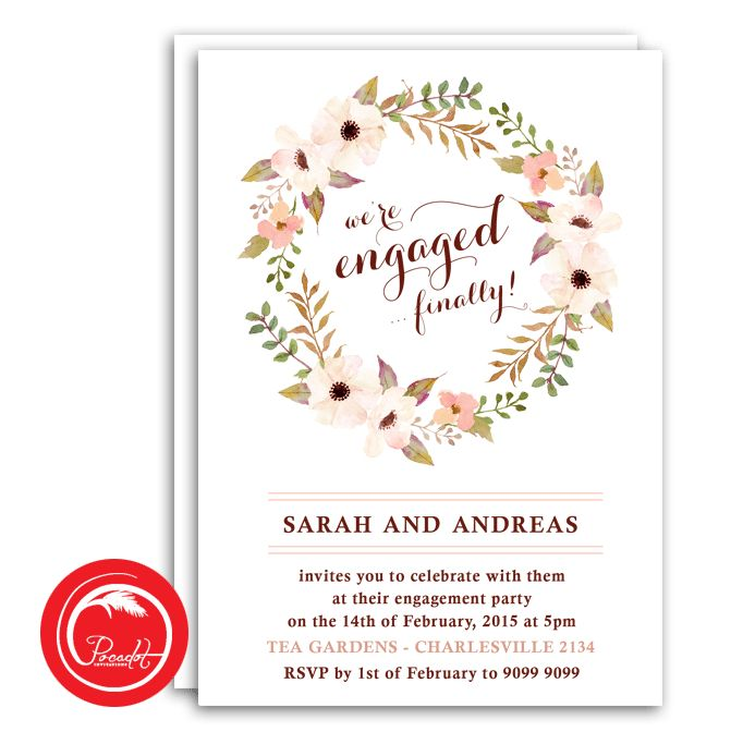 Rustic Wreath Engagement Party Invitation