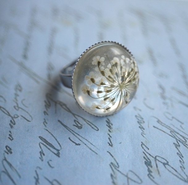 Real Flower Ring Resin Jewelry Queen Annes Lace White Pearly silver Elegant Transparent Vintage Spring Ice. $22.00, via Etsy.