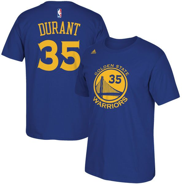 Men's Kevin Durant Golden State Warriors adidas Blue Name and Number T-Shirt