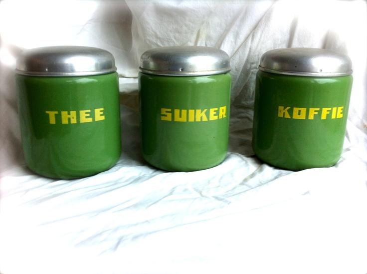 Original Dutch Vintage 1930's enamel Thee Sugar Coffee containers. $69.00, via Etsy.