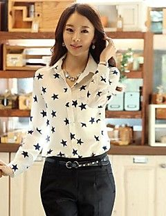 Mulheres Camisa Casual Simples Primavera / Verão / Outono,Estampado Branco Colarinho de Camisa Manga Longa Média