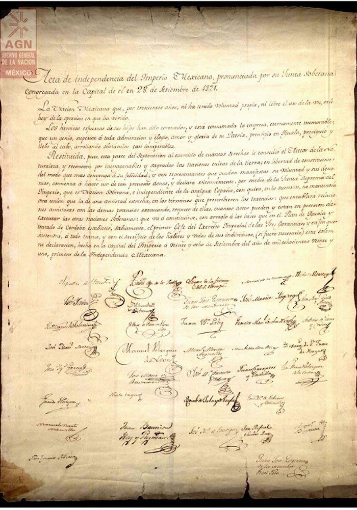 Acta de la Independencia de México, cuyo original se encuentra en el Archivo General de la Nación
