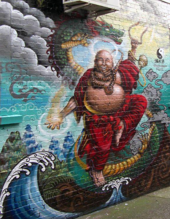 budai Laughing buddha graffiti mural art auckland nz