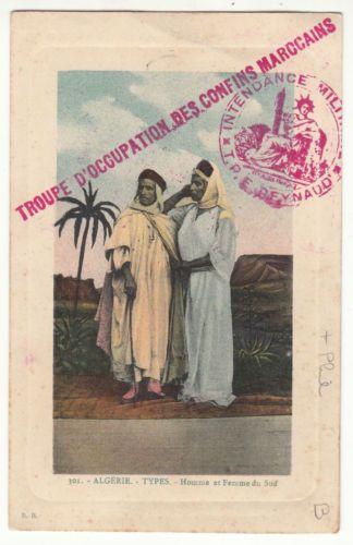 CARTE POSTALE ALGERIE TYPES HOMME ET FEMME DU SUD CACHET MILITAIRE