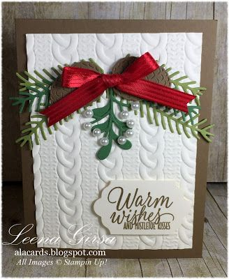 Cable Knit embossing folder and Pretty Pines Thinlits