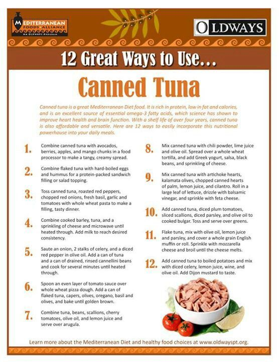 Printable 12 great ways to use canned tuna