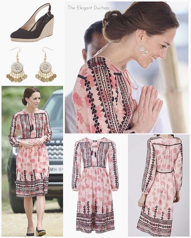 "For today's visit to Pan Bari in Assam, Kate sticked to her patterned theme, this time debuting Topshop's 'Embroidered Print Midi Dress' available for £75. It is 100% polyester and described as: ""Boho-chic details define a midi-length dress in a pink-tone print accented with black embroidery, including open ladder-stitch insets. Tassel-tipped ties hang from the keyhole neckline."" To match the dress, Kate for the third time on tour wore her £8 Filigree Beaded earrings from Accessorize…"