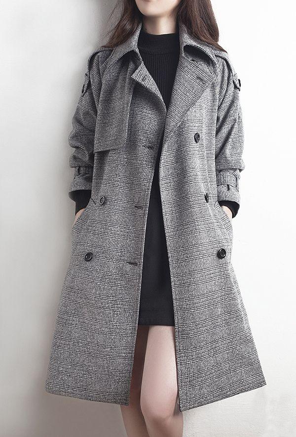 983e10b92f26 Classy Grey Down Collar Winter Trench Coat in 2019 | #✓✿Pinterest ...