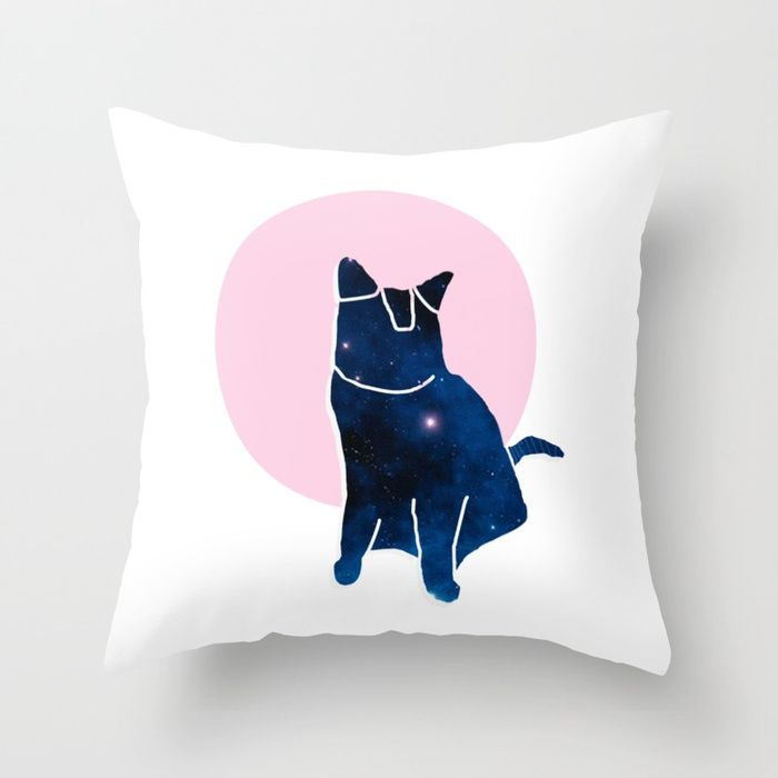 Throw Pillow made from 100% spun polyester poplin fabric, a stylish statement that will liven up any room. Individually cut and sewn by hand, each pillow features a double-sided print and is finished with a concealed zipper for ease of care.  Sold with or without faux down pillow insert.  #cat #kitty #spacecat #kitten #cute #animal #pet #space #galaxy #cool #abstract #tumblr #zazzle #society6