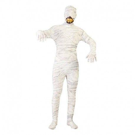 Disfraces Halloween | Disfraz de momia blanca. Completamente serigrafiado. Incluso la cara con esa terrorífica sonrisa. Se ajusta perfectamente al cuerpo. ¡Qué miedo! Contiene malla de cuerpo entero. Talla M/L. 21,95€ #momia #momiablanca #disfrazmomia #disfraz #halloween #disfrazhalloween #disfraces