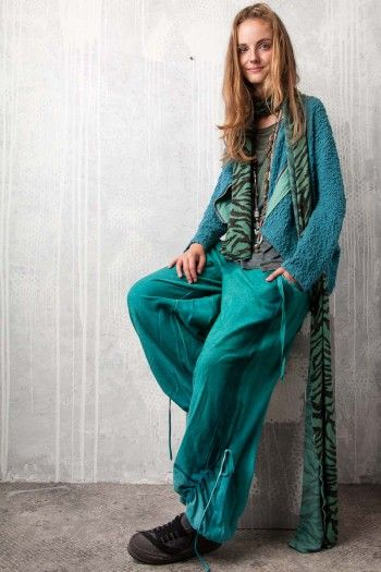 Wide pants. By Adéla Urbanová Fancy and colorful designed story. Handmade coloured, dyed and printed items.