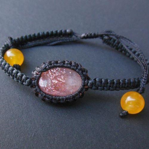 Oval sunstone macrame gemstone bracelet jewelry
