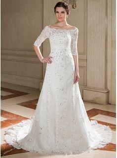Vestidos princesa/ Formato A Sem o ombro Cauda de sereia Tule Vestido de noiva com Renda Bordado Lantejoulas - R$ 614,96