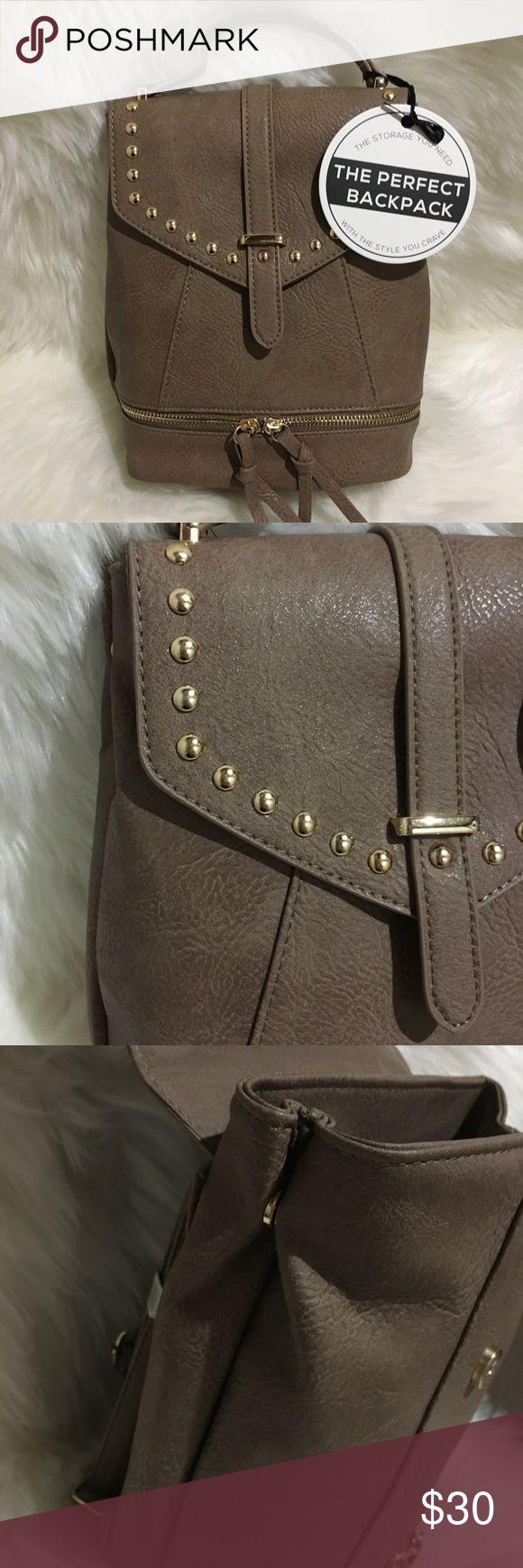 Brown beige gold Studded Backpack purse tassel Brown tan khaki gold studded backpack purse handbag under one sky the perfect backpack. Adjustable straps Bags Backpacks