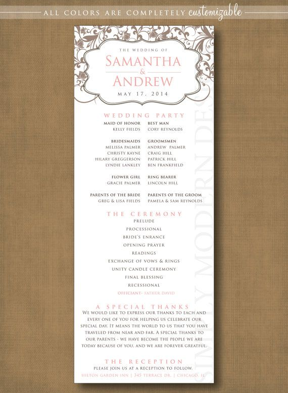 Classic Elegant Wedding Program Ceremony Program Wedding Ceremony Wedding