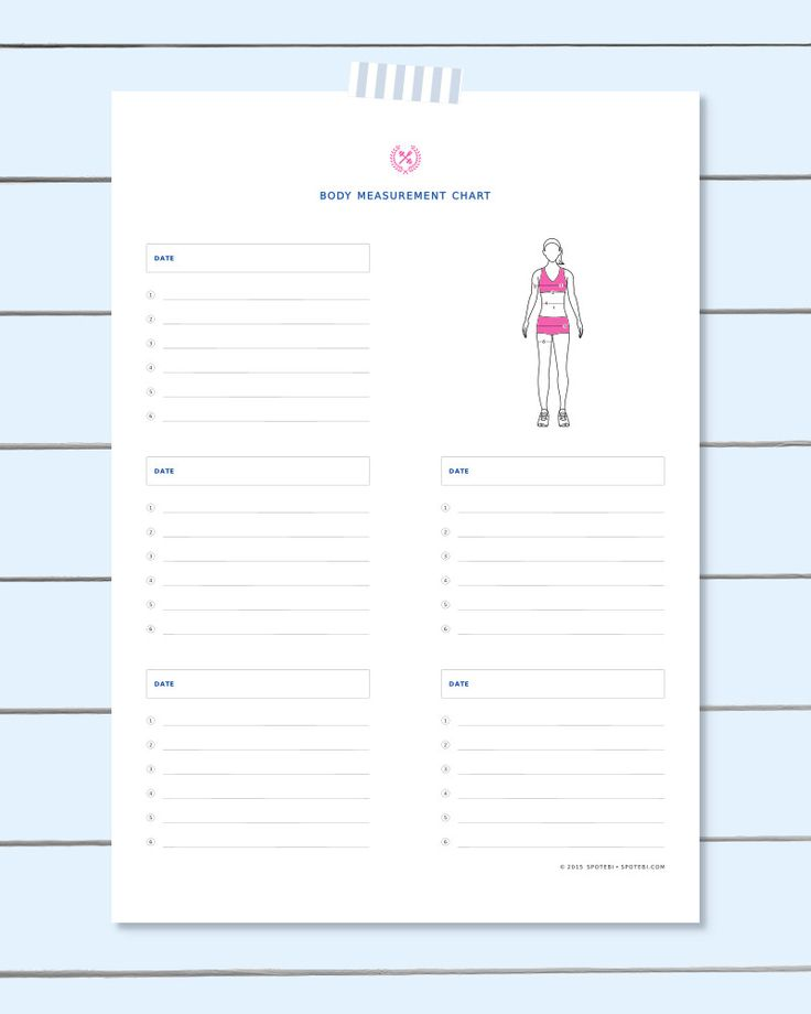 Free body measurement chart! Set your exercise goals, get your workout plan together and track your progress with our fun fitness tracker printables! http://www.spotebi.com/fitness-tracker/body-measurement-chart/