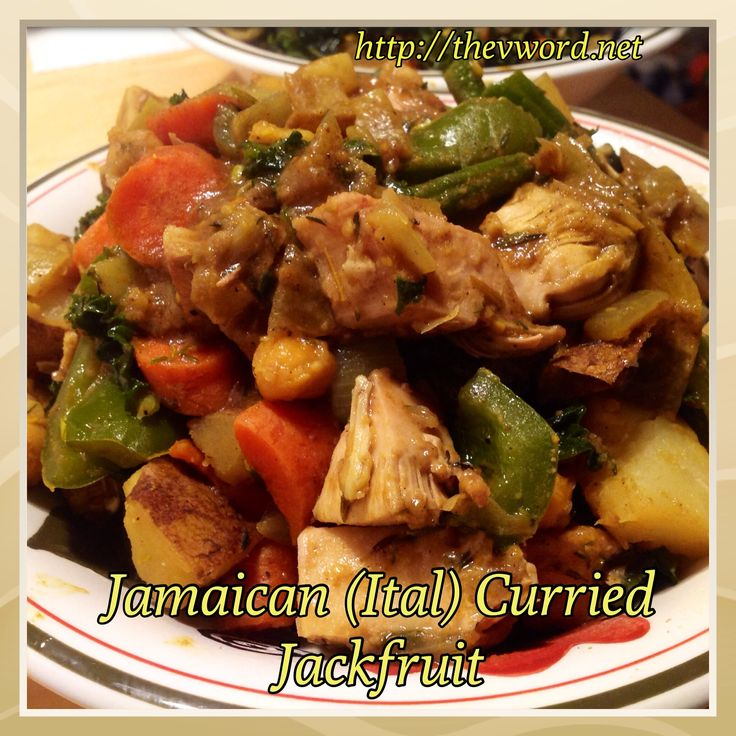 "New recipe on The ""V"" Word: Jamaican (Ital) Curried Jackfruit with Chickpeas. This is comfort in a bowl - spicy, slightly sweet and totally delicious. Vegan and gluten-free. http://thevword.net/2015/01/jamaican-ital-curried-jackfruit-with-chickpeas.html"