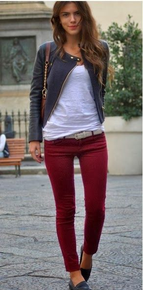 Burgundy skinny with simple white shirt and sharcole coat
