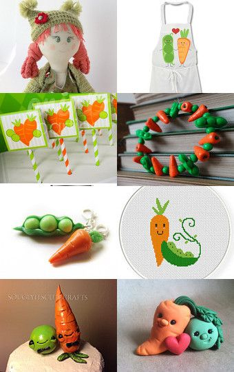 Carrot's peas or funny friendship. by Inna Starovoitova on Etsy--Pinned with TreasuryPin.com