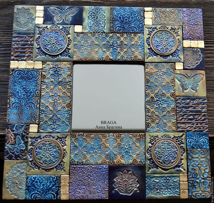 Купить Зеркало декоративное. Синяя мозаика из полимерной глины - тёмно-синий, зеркало, зеркало в раме