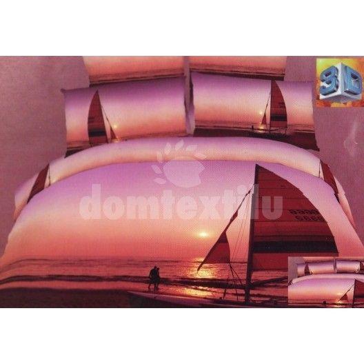 Posteľné obliečky fialovej farby so západom slnka