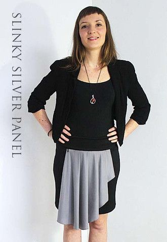 This elegantly draping silver zip-on  panel adds style & colour to your Zippy outfit. Change your look in seconds with this slinky zippy evening panel.  Perfect for work, night & day.  Buy yours  at http://www.zippyskirts.com.au Quickly attaches to Zippy's Love to Travel Skirt  front at hidden waistband zip, Flattering design hides tummy area (pleats drape over body and we love that).  Sexy, stylish, flattering, comfortable & elegant