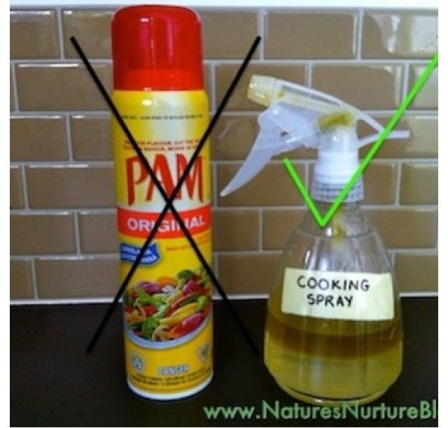 DIY cooking spray, mix one part olive oil and five parts water, shake before use.