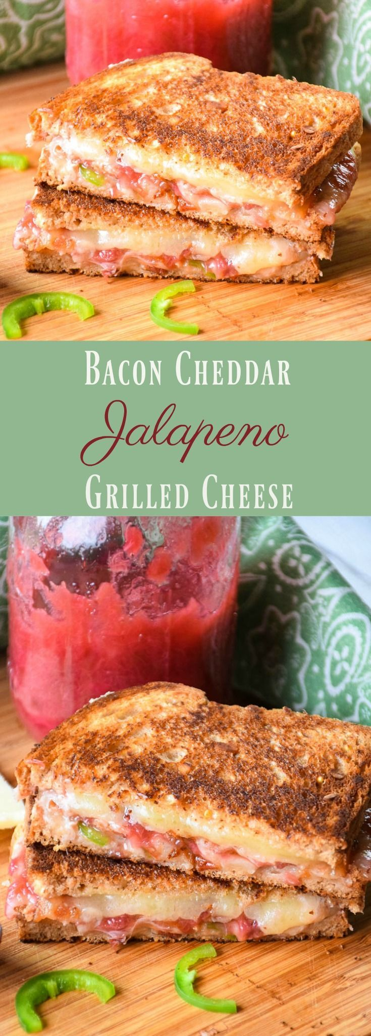 Rhubarb sauce, jalapenos, sharp cheddar, and salty crispy bacon contribute an amazing combination of flavors in Bacon Cheddar Jalapeno Grilled Cheese! #spon #DairyMonth @CabotCheese