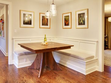 Built in kitchen Benches | Mercer Island Dining Table w/Built in Benches traditional kitchen