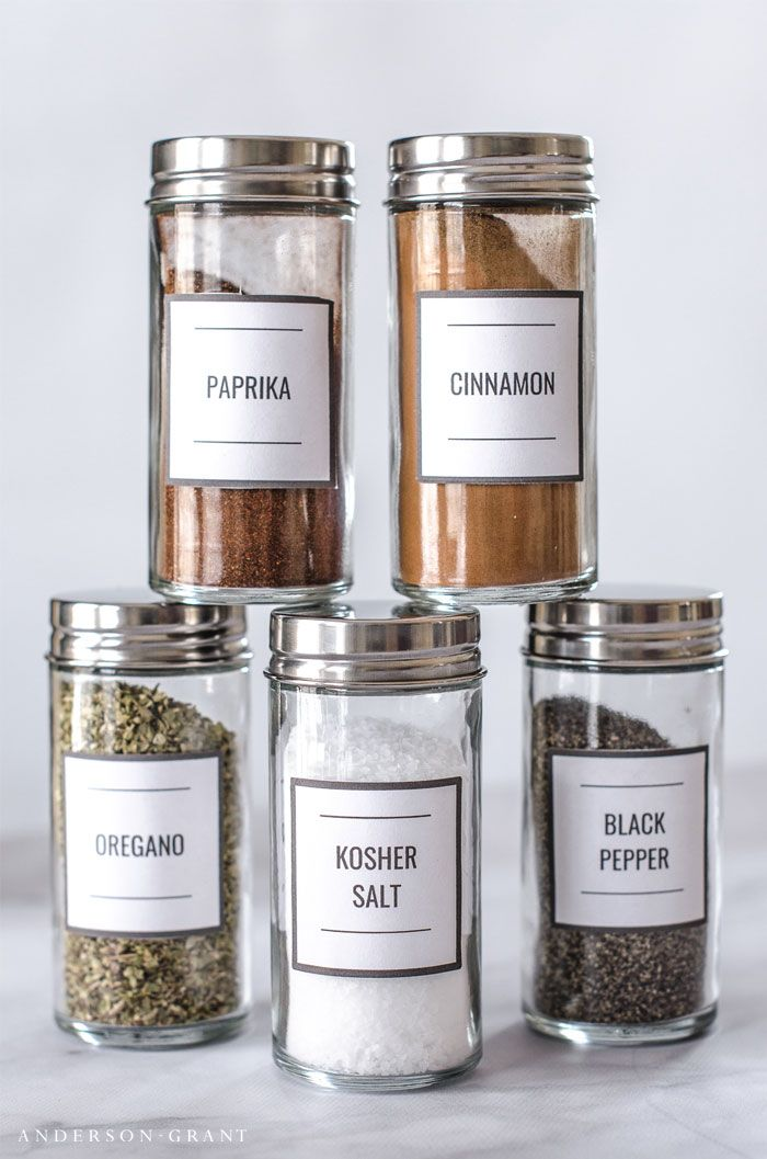 Download These Modern Spice Jar Labels And Find Out Tips For Organizing  Your Spices. |