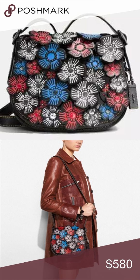 """Coach Tea Rose appliqué saddle bag Brand new with tag. Glove tanned leather. 9""""W x 8"""" H x 2.5"""" D.  Has inside side/zip pocket and 2 compartments. No trades 🌹 Coach Bags"""