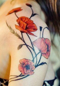 Poppy art nouveau tattoo