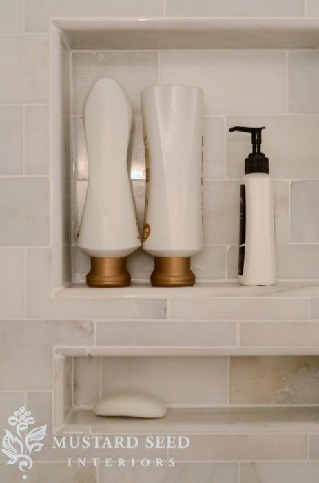 Put in a few niches between the studs for shampoo, body wash, soaps, etc. I hate soap dishes that stick out of the wall or...