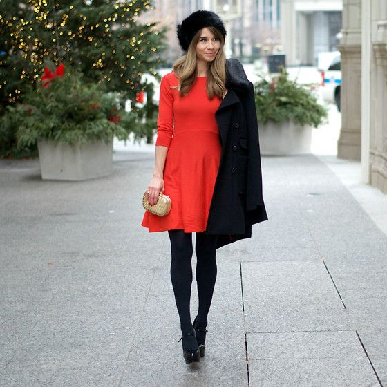 French Connection Uk Red A Line Dress, River Island Faux Fur Headband, Betsey Johnson Black Pea Coat, Vince Camuto Mary Jane Platforms