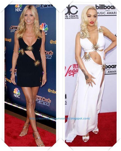 Un vestido de Fausto Puglisi se lo hemos visto a Heidi Klum, en negro y corto, en el programa American Got Talent; y a Rita Ora, en blanco y largo, en los Billboard.