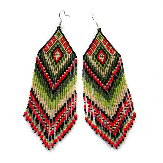 Large colorful  seed bead earrings - red and green - beaded jewelry - long dangle earrings... gorgeous