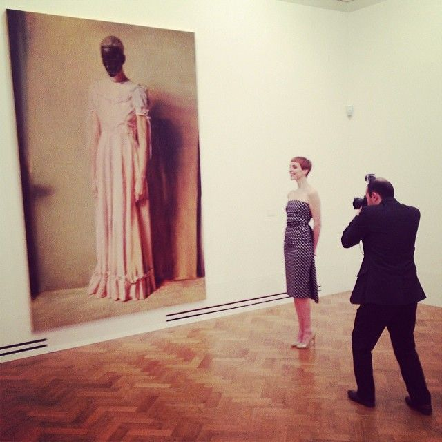 """The Model as Muse - Hannelore Knuts poses in front of Michael Borremans's """"The Angel."""" Repin Via Wmag // #dreambig"""