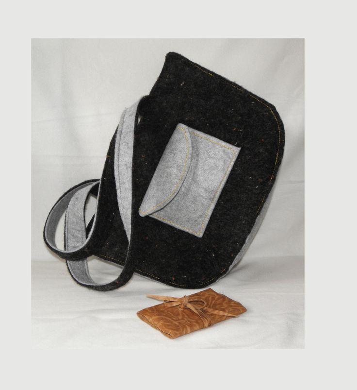 italiana borsa donna, fatto a mano tessuto di lana e pannolenci, borsa grande, borsa nera made in italy di BBagdesign su Etsy